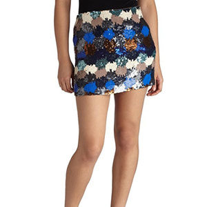 French Connection Paintbox Sequined Mini Skirt